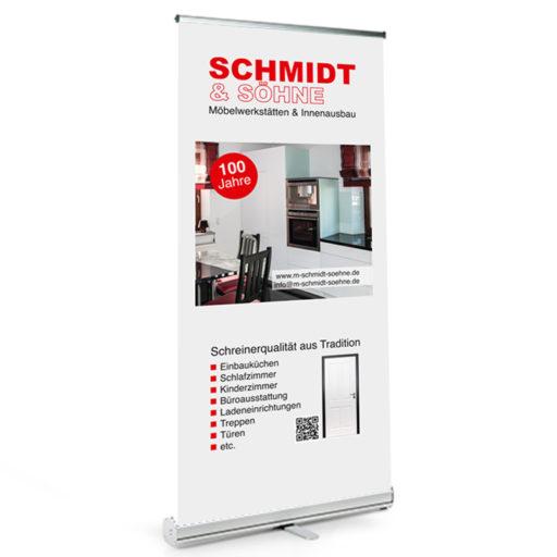 Printdesign Roll-Up Perfekt für regelmäßige Einsätze, stabiles AluminiumA Gehäuse inkl. Transporttasche