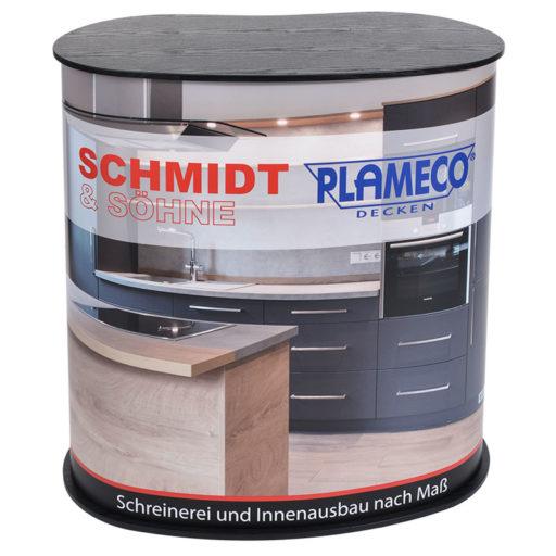 Printdesign Messetheke/ Messecounter Ansicht vorne, hochwertiger Druck, wir erstellen für Sie das Layout und beauftragen den Druck (Made in Germany)