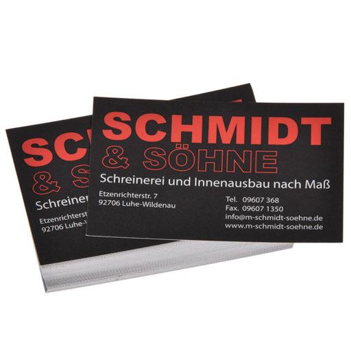 Printdesign Visitenkarten mit Soft-Feel, einseitig, folienkaschiert, matt
