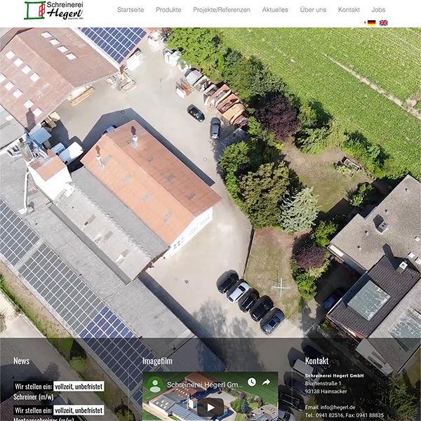 Website Schreinerei Hegerl typo3 Luftbildaufnahme