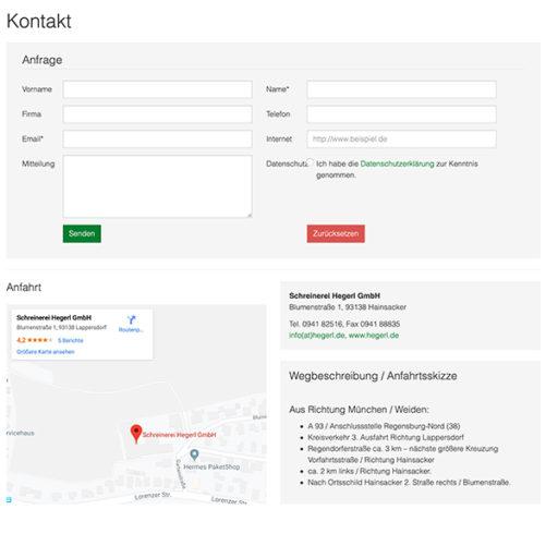 Website Schreinerei Hegerl typo3 Kontaktformular