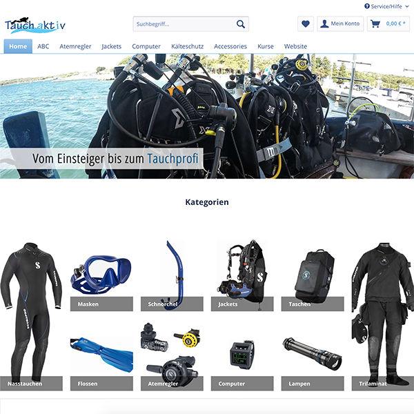 e-commerce Shopware Onlineshop für Taucher Startseite