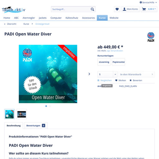 e-commerce Shopware Onlineshop für Tauchkurse