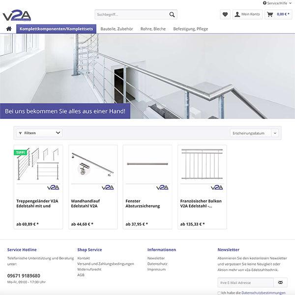 e-commerce Shopware Onlineshop für V2a Treppengeländer Komplettsysteme
