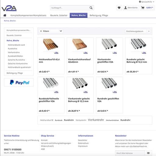 e-commerce Shopware Onlineshop für Edelstahl Treppengeländer Komplettset