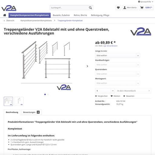 e-commerce Shopware Onlineshop für Edelstahl Treppengeländer