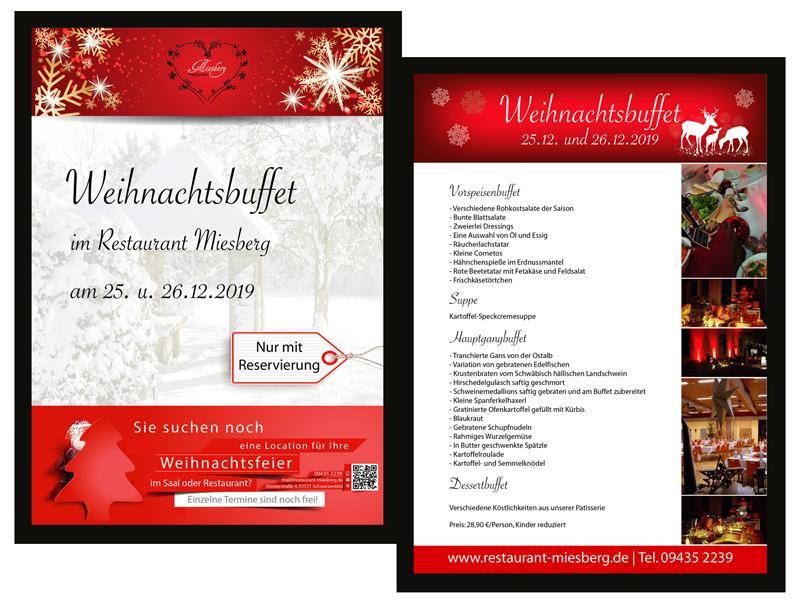 Flyer Weihnachtsbuffet 2019 Restaurant Miesberg