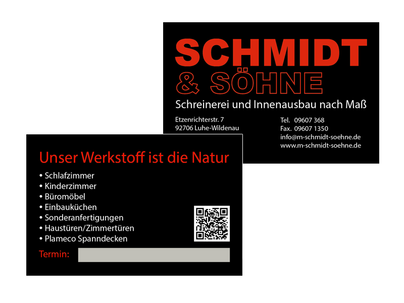 Visitenkarten Bespiel Schmidt & Söhne